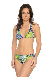 Floral Reef Halter Two Piece Bikini: With ties for perfect fit and bust support