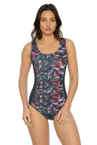 Rainbow Ruched Tank One Piece Swimsuit:  Chlorine resistant