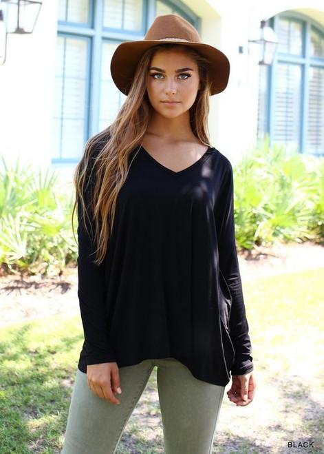 Black Long Sleeve V-Neck PIKO Top