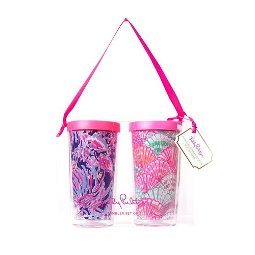Lilly Pulitzer Insulated Tumbler with Lid Set ~ Shrimply Chic  and Oh Shello