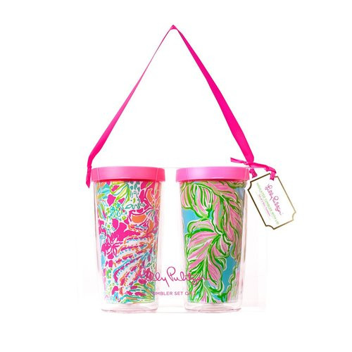 Lilly Pulitzer Insulated Tumbler with Lid Set  ~ Spot Ya and In the Bungalows
