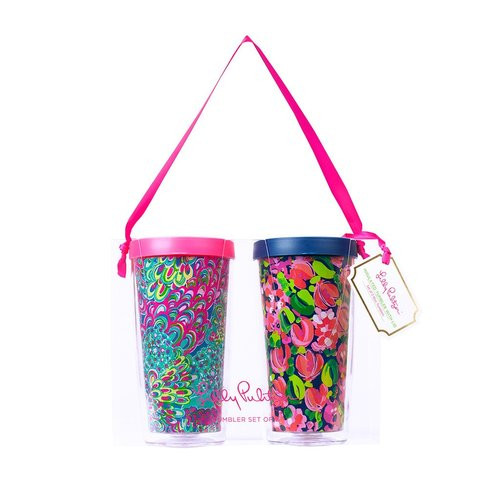 Lilly Pulitzer Insulated Tumbler with Lid Set ~ Wild Confetti  and Lilly's Lagoon