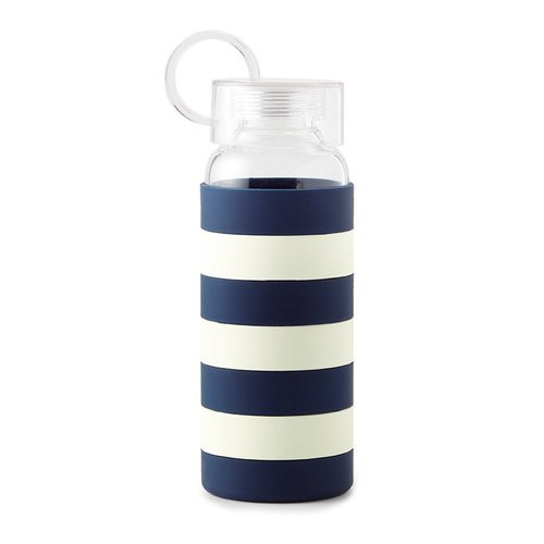 Kate Spade Water Bottle ~ Navy Rugby Stripe