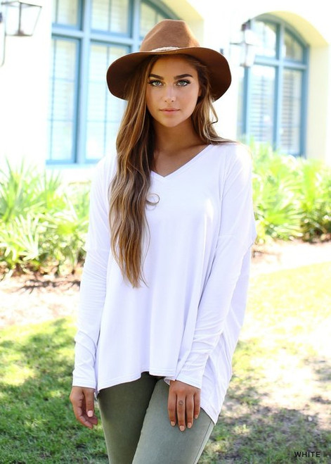 White Long Sleeve V-Neck PIKO Top