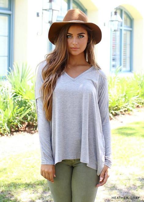 Heather Grey Long Sleeve V-Neck PIKO Top