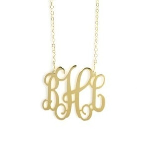 Gold Filigree Monogram Necklace