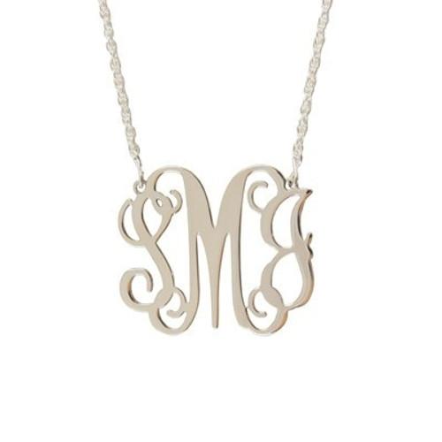 Sterling Silver Filigree Monogram Necklace