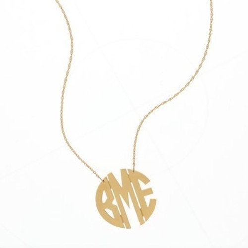 Large Circle Gold Filigree Monogram Necklace
