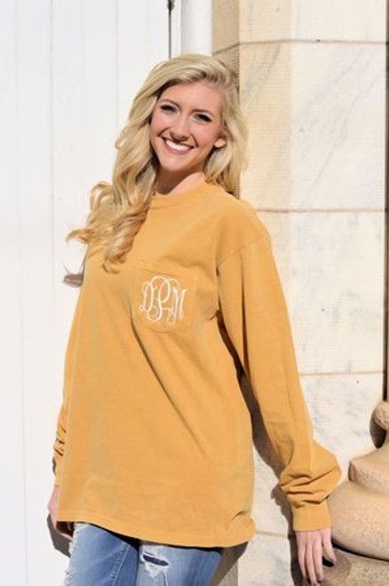 Monogrammed Long Sleeve Mustard Comfort Colors Tee