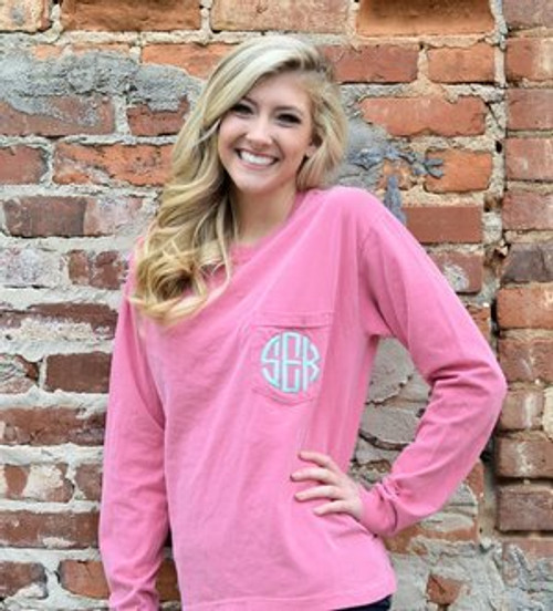 Monogrammed Long Sleeve Crunchberry Comfort Colors Tee