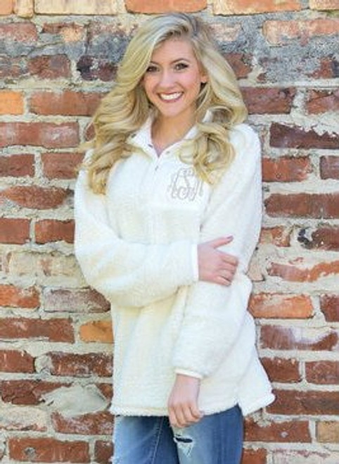 Ivory Monogrammed Sherpa Pullover
