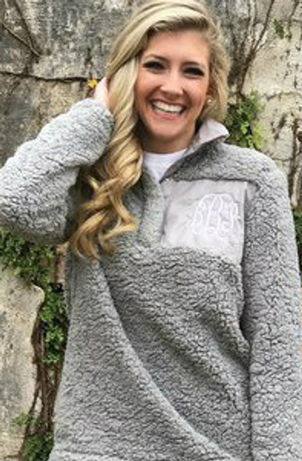 Gray Monogrammed Sherpa Pullover