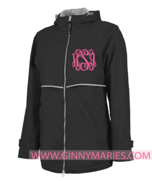 Monogrammed Black New Englander Rain Jacket