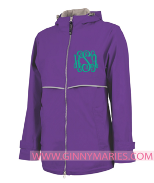 Monogrammed Purple New Englander Rain Jacket