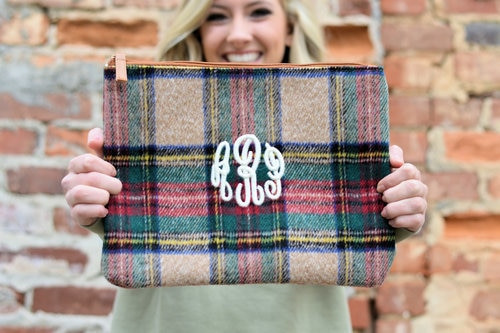 Monogrammed Plaid Clutch