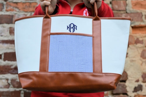 Monogrammed Canvas & Navy Seersucker Tote
