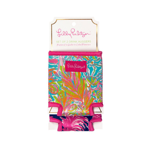 Lilly Pulitzer Set of 2 Drink Huggers ~ Scuba to Cuba/Flamenco