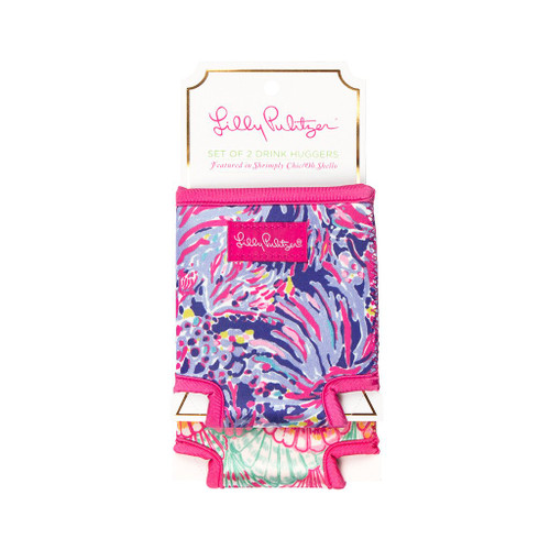 Lilly Pulitzer Set of 2 Drink Huggers ~ Shrimply Chic/ Oh Shello