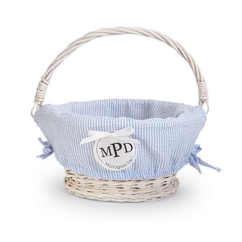 Small BLUE Seersucker Wicker Basket