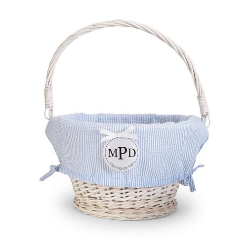 Large BLUE Seersucker Wicker Basket