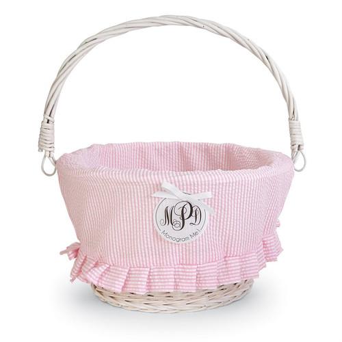 Large PINK Seersucker Wicker Basket