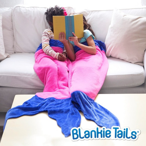 Blankie Tails Pink and Blue Mermaid Blanket ~ Kids Size