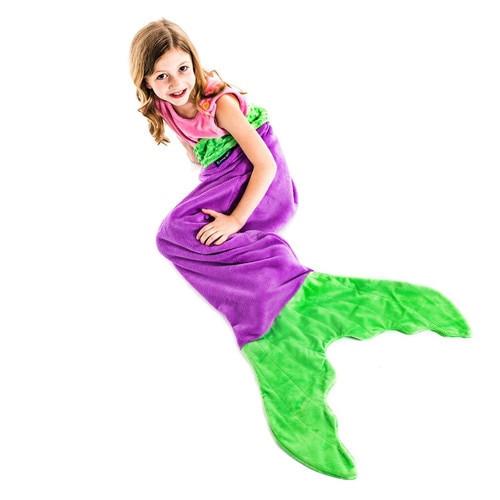 Blankie Tails Purple and Green Mermaid Blanket ~ Kids Size