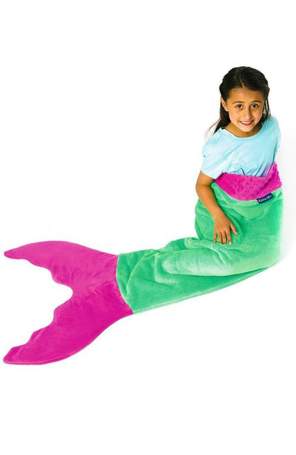 Blankie Tails Pink and Green Mermaid Blanket ~ Kids Size