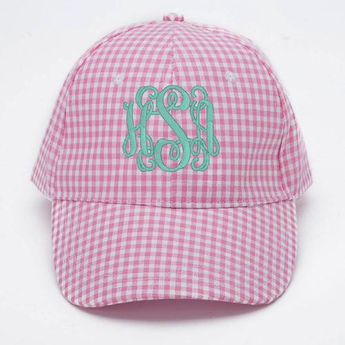 Monogrammed Pink Gingham Cap