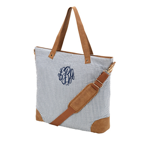 Monogrammed Navy Seersucker Flight Bag