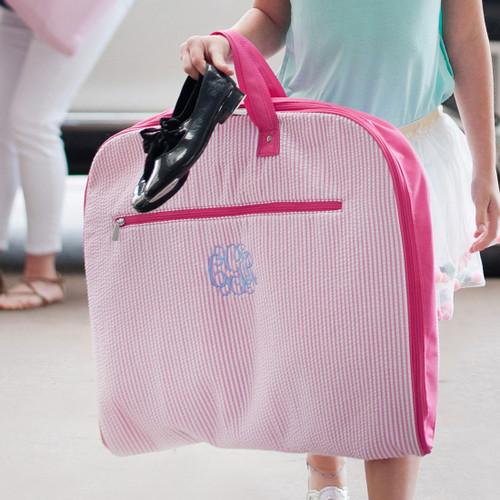 Monogrammed Pink Seersucker Garment Bag