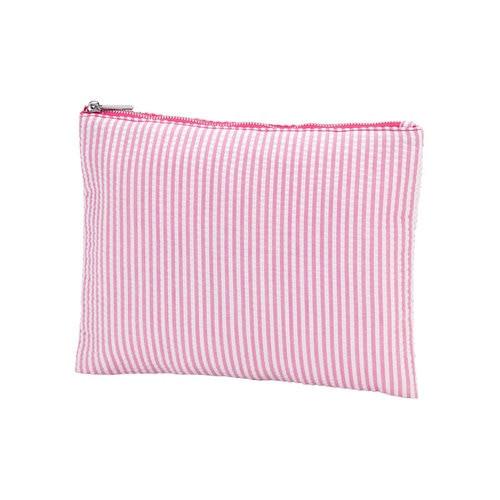 Monogrammed Pink Seersucker Zip Pouch