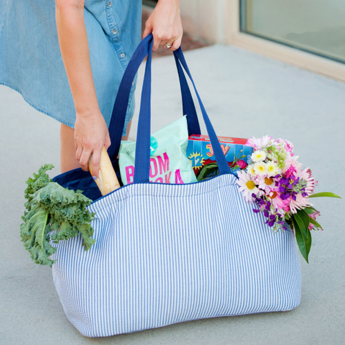 Monogrammed Navy Seersucker Ultimate Tote