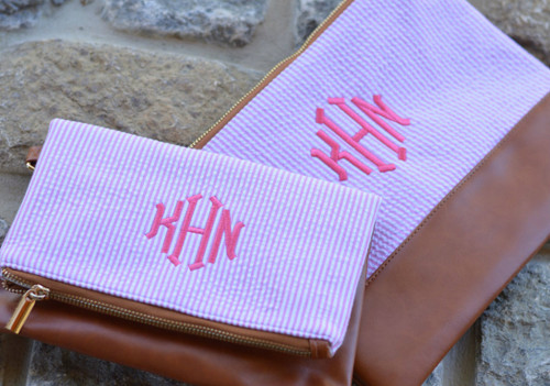 Monogrammed Pink Seersucker Crossbody