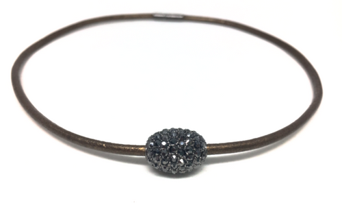 Erin Gray Soho Pave Choker - Brown Leather