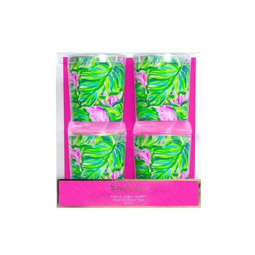Lilly Pulitzer Acrylic Lo-Ball Glass Set | Painted Palm