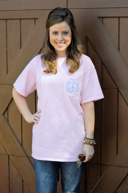 Monogrammed Short Sleeve Blossom Comfort Colors Tee