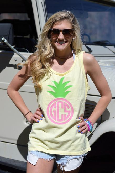 Pineapple Monogram Comfort Colors Tank
