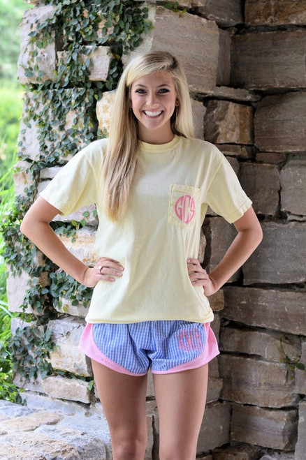 Monogrammed Short Sleeve Banana Comfort Colors Tee