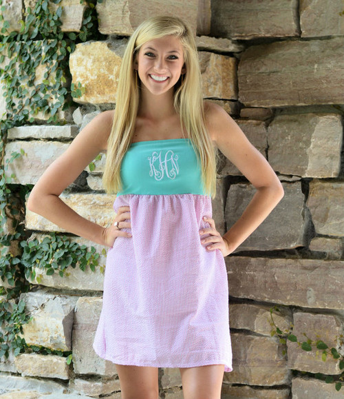 Monogrammed Seersucker Beach Days Dress | Pink & Aqua
