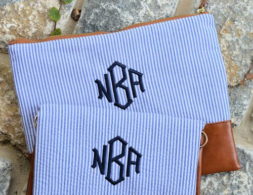 monogrammed navy seersucker cosmetic clutch
