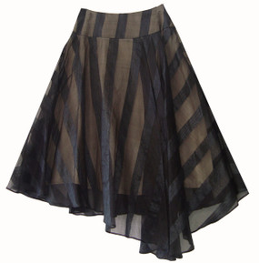 Semicircle skirt made of silk organza featuring a stripe pattern and a pleated drop hem on left front.  Closed on left side by a concealed zipper.  100% silk, exclusive of lining.,
