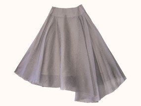 Semicircle skirt made of satin jacquard silk organza featuring a scroll pattern and a pleated drop hem on left front.  Closed on left side by a concealed zipper.  100% silk, exclusive of lining.