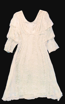 Sagrada Dress - Romantic white dress made of silk chiffon, delicately embroidered with cotton.  Treble bloused 3/4 sleeves, fitted lining, midi length (to knee)