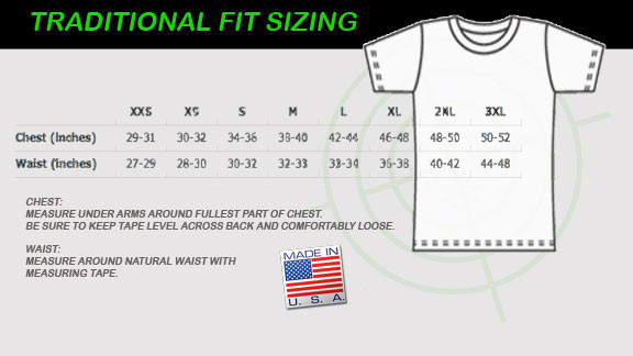 Unisex, Traditional fit size chart
