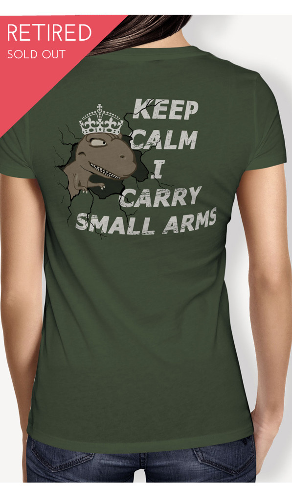 T-Rex Keep Calm OD green graphic tee back