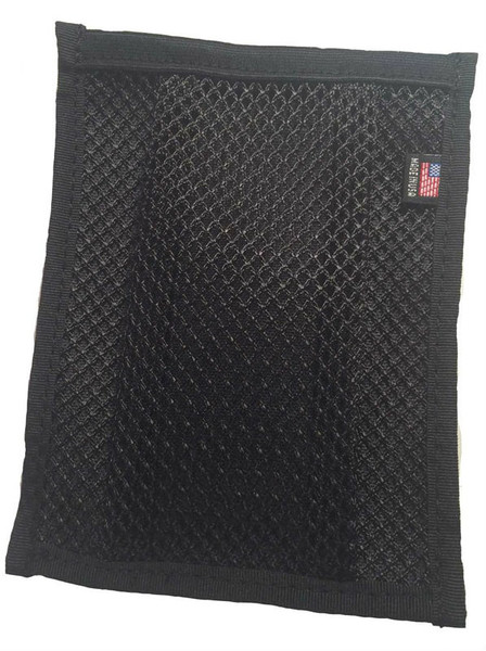 Spent brass accessory mesh pouch for NORB with velcro back, black