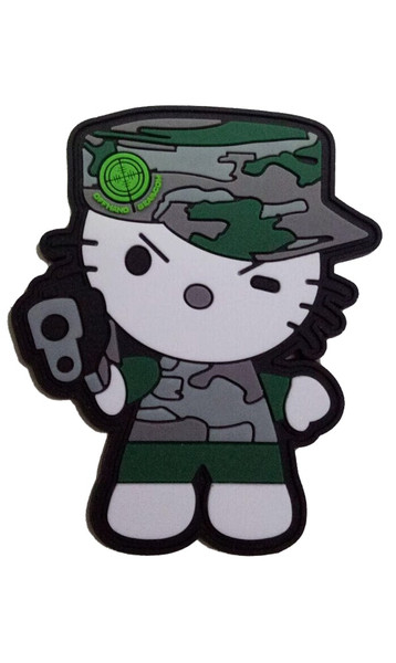 "Camo Kitty Vinyl Patch 3"" Green"