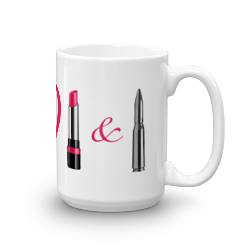 I love lipstick and lead 15oz mug right view