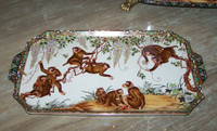 Merry Monkeys - Luxury Handmade Reproduction Chinese Porcelain - Luxury Handmade Reproduction Chinese Porcelain - 18L x 10w x 1t Display or Vanity Tray - Style 194